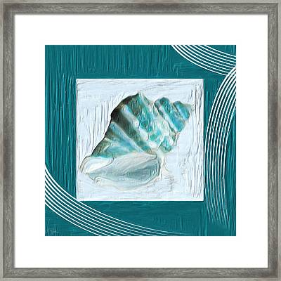 Turquoise Seashells Xxii Framed Print by Lourry Legarde