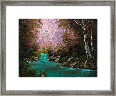 Turquoise Waterfall Framed Print by C Steele