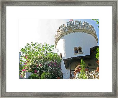 Turret And Flowers Framed Print by Pete Marchetto