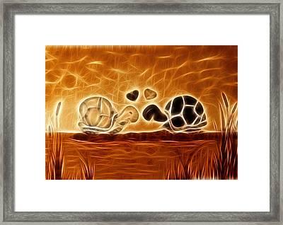 Turtles Love Fractalius Framed Print by Georgeta Blanaru