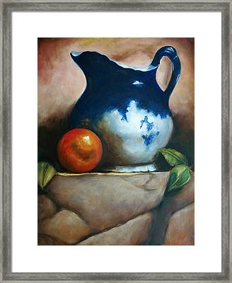 Tuscan Blue Pitcher Still Life Framed Print by Melinda Saminski