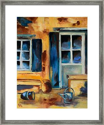 Tuscan Courtyard Framed Print by Elise Palmigiani