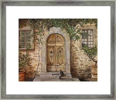 Tuscan Door Framed Print by Lizbeth Gage