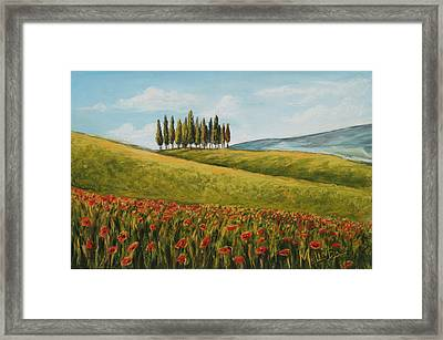 Tuscan Field With Poppies Framed Print by Melinda Saminski