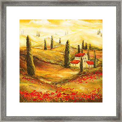 Tuscan Poppies - Tuscan Poppy Fields Impressionist Framed Print by Lourry Legarde