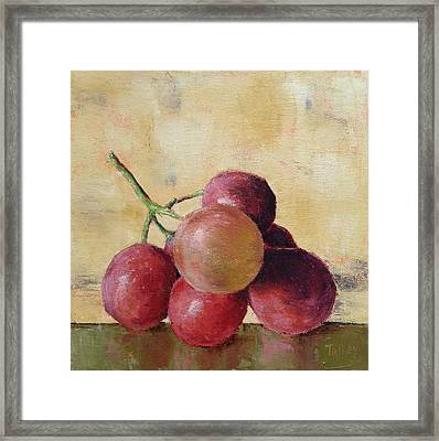 Tuscan Red Globe Grapes Framed Print by Pam Talley