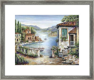 Tuscan Villas By The Lake Framed Print by Marilyn Dunlap
