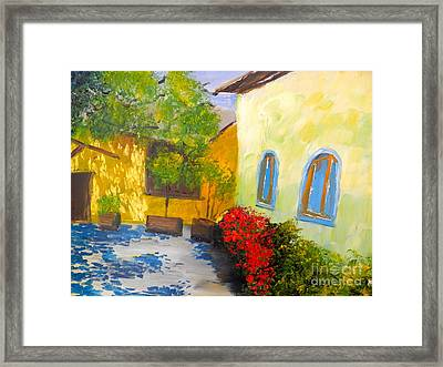 Tuscany Courtyard 2 Framed Print by Pamela  Meredith