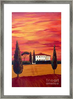 Tuscany In Red Framed Print by Christine Huwer