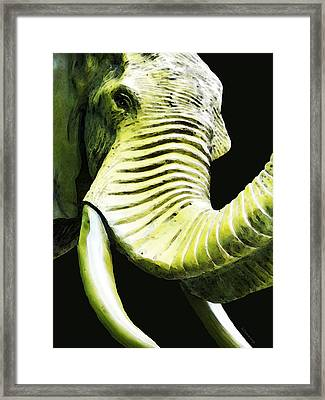 Tusk 1 - Dramatic Elephant Head Shot Art Framed Print by Sharon Cummings