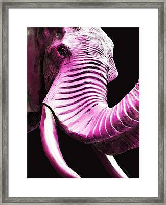 Tusk 2 - Pink Elephant Art Framed Print by Sharon Cummings