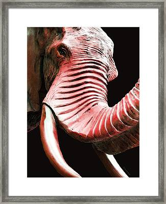 Tusk 4 - Red Elephant Art Framed Print by Sharon Cummings