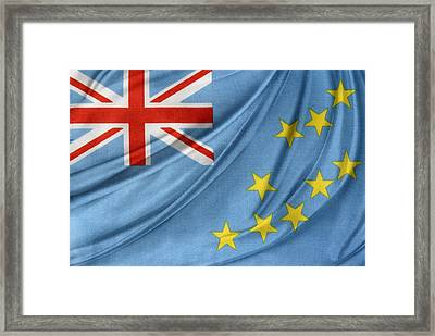 Tuvalu Flag Framed Print by Les Cunliffe