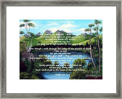 Twenty-third Psalm On Twin Ponds Framed Print by Barbara Griffin