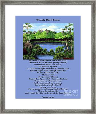 Twenty-third Psalm With Twin Ponds Blue Framed Print by Barbara Griffin