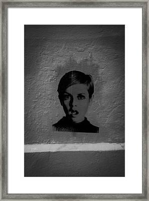Twiggy Street Art Framed Print by Louis Maistros