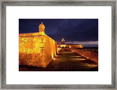 Twilight At Historic El Morro Fort Framed Print by Brian Jannsen