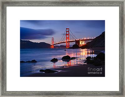 Twilight - Beautiful Sunset View Of The Golden Gate Bridge From Marshalls Beach. Framed Print by Jamie Pham