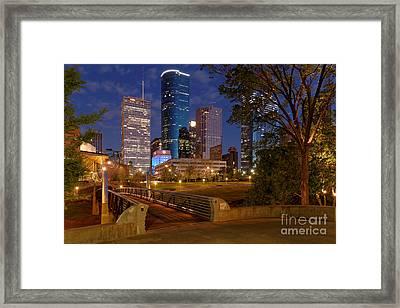 Twilight Breaking Dusk Houston Skyline Framed Print by Silvio Ligutti