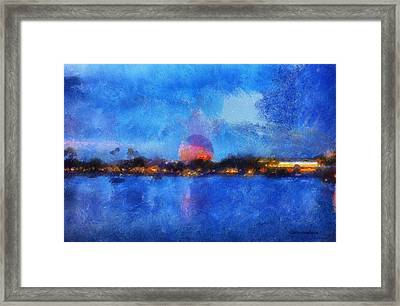 Twilight Epcot World Showcase Lagoon Wdw 02 Photo Art Framed Print by Thomas Woolworth