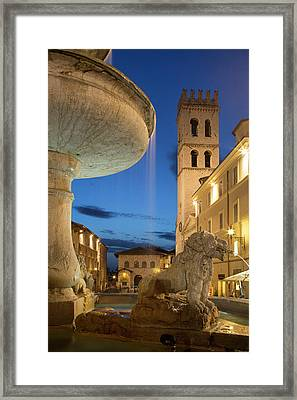 Twilight In Piazza Del Comune, Assisi Framed Print by Brian Jannsen