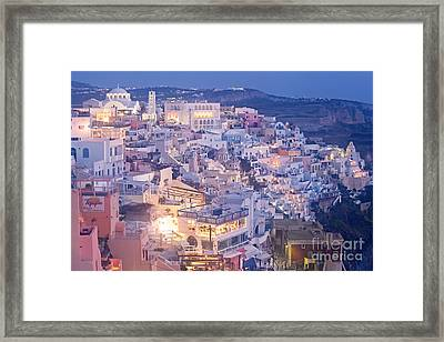 Twilight In Santorini Framed Print by Aiolos Greek Collections