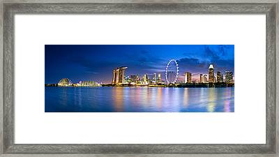 Twilight In Singapore Framed Print by Ulrich Schade