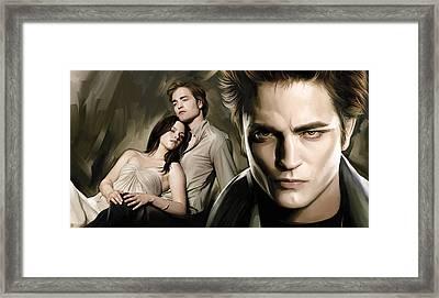 Twilight  Kristen Stewart And Robert Pattinson Artwork 2 Framed Print by Sheraz A