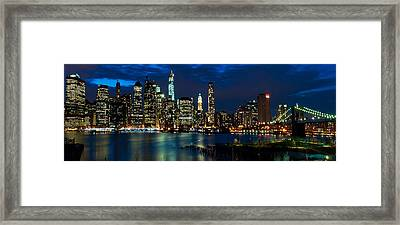 Twilight Nyc Panorama Framed Print by Mitchell R Grosky