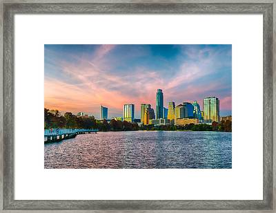 Twilight Over Austin  Framed Print by Tod and Cynthia Grubbs