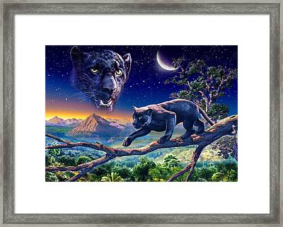 Twilight Panther Framed Print by Adrian Chesterman
