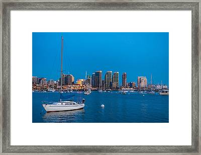 Twilight Sailboat San Diego Harbor Framed Print by Peter Tellone