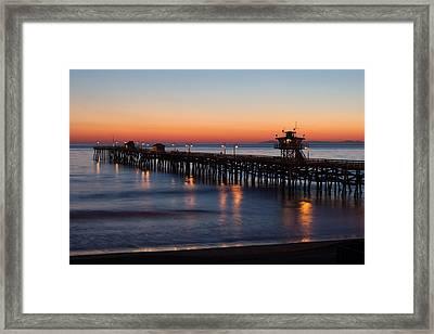 Twilight San Clemente Pier Framed Print by Cliff Wassmann