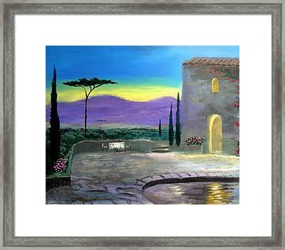 Twilight Tuscany Framed Print by Larry Cirigliano