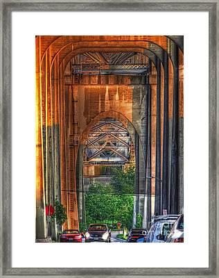 Twilight Under A Fremont Bridge Framed Print by Chris Anderson