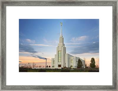 Twin Falls Temple Sunrise Framed Print by Dustin  LeFevre