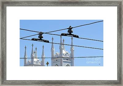 Twin Spires And Trolley Lines Framed Print by Mary Mikawoz