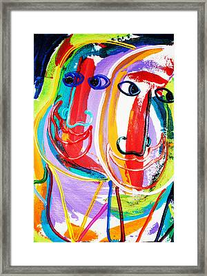 Two Abstract Faces Framed Print by Matthew Brzostoski