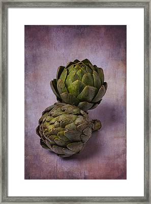 Two Artichokes Framed Print by Garry Gay