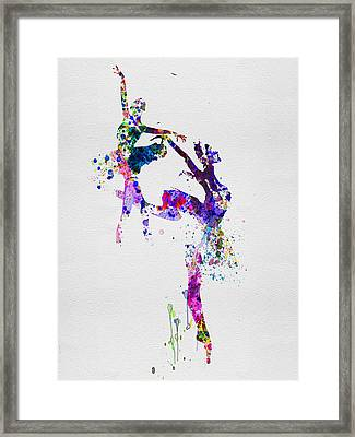 Two Ballerinas Dance Watercolor Framed Print by Naxart Studio