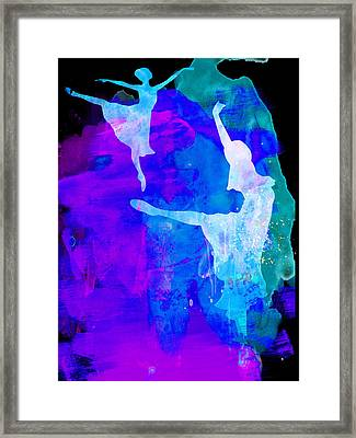 Two Ballerinas Watercolor 3 Framed Print by Naxart Studio