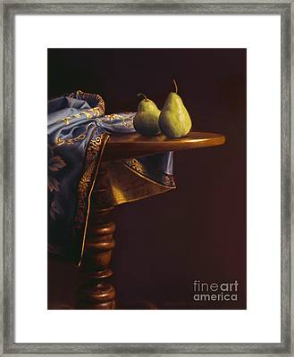 Two Bartletts On A Tilt-top Table Framed Print by Barbara Groff