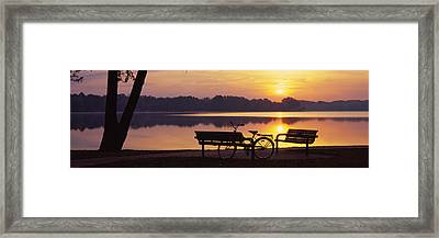 Two Benches With A Bicycle Framed Print by Panoramic Images