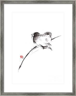 Two Birds Minimalism Artwork. Framed Print by Mariusz Szmerdt