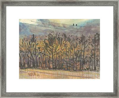 Two Birds On A Wire Framed Print by Donald Maier