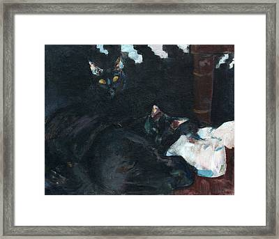 Two Black Cats Framed Print by Anita Dale Livaditis