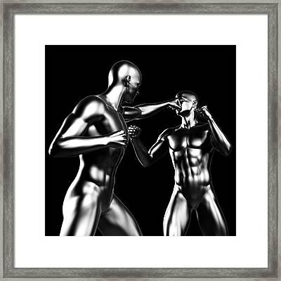 Two Boxers Fighting Framed Print by Sebastian Kaulitzki