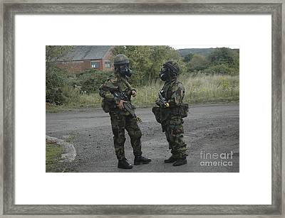 Two British Soldiers In Full Nbc Framed Print by Andrew Chittock