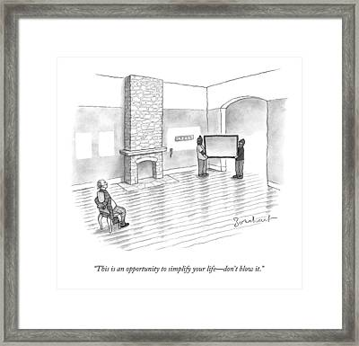 Two Burglars Carry A Tv Out Of An Empty House Framed Print by David Borchart