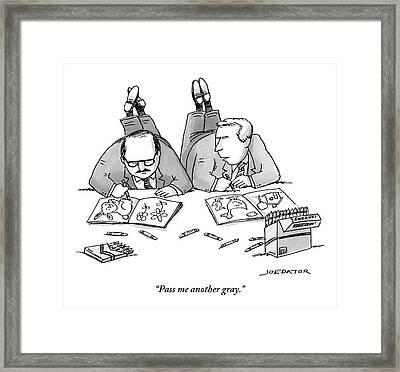 Two Businessmen In Suits Lie On The Floor Framed Print by Joe Dator
